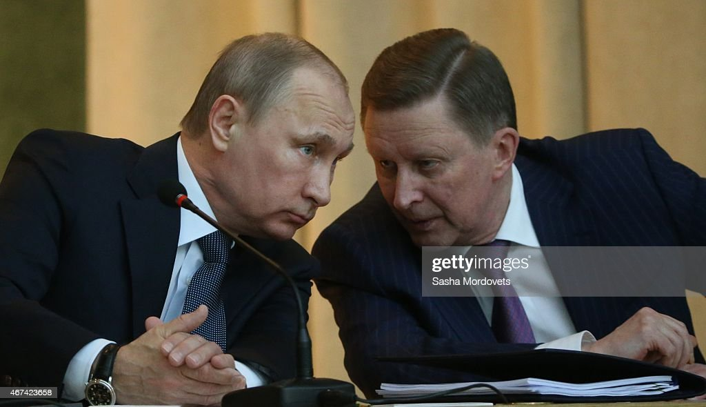 Russian President Vladimir Putin and his Chief of Staff Sergei Ivanov attend an annual meeting with top prosecutors in the office of Prosecutor...