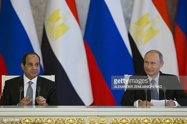 Russian President Vladimir Putin and his Egyptian counterpart Abdel Fattah alSisi attend a joint press conference after their talks at the Kremlin in...