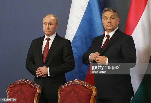 Russian President Vladimir Putin and Hungarian Prime Minister Viktor Orban attend a signing ceremony of several agreements between the two countries...