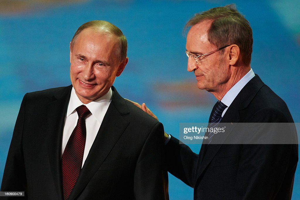 Russian president Vladimir Putin and IOC Member Jean-Claude Killy attend perfomance of Sochi 2014 - One Year To Go on Feb.7, 2013 in 'Bolshoi' Ice Dome in Sochi, Russia.