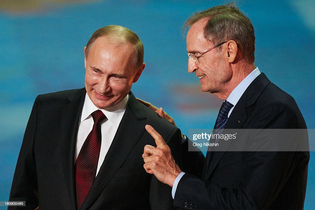 Russian president <a gi-track='captionPersonalityLinkClicked' href=/galleries/search?phrase=Vladimir+Putin&family=editorial&specificpeople=154896 ng-click='$event.stopPropagation()'>Vladimir Putin</a> and IOC Member <a gi-track='captionPersonalityLinkClicked' href=/galleries/search?phrase=Jean-Claude+Killy&family=editorial&specificpeople=223880 ng-click='$event.stopPropagation()'>Jean-Claude Killy</a> attend perfomance of Sochi 2014 - One Year To Go on Feb.7, 2013 in 'Bolshoi' Ice Dome in Sochi, Russia.