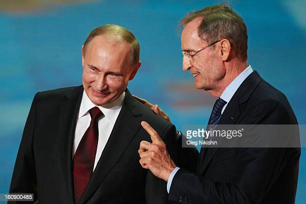 Russian president Vladimir Putin and IOC Member JeanClaude Killy attend perfomance of Sochi 2014 One Year To Go on Feb7 2013 in 'Bolshoi' Ice Dome in...