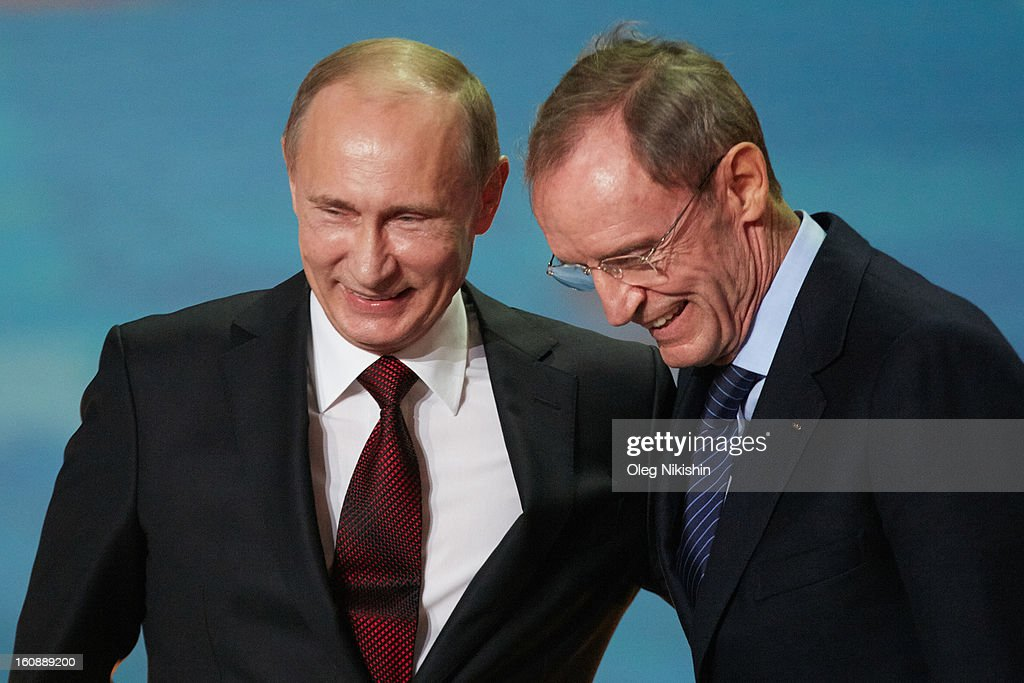 Russian president Vladimir Putin and IOC president Jacques Rogge attend the 'Sochi 2014 - One Year To Go' ceremony at Bolshoi Ice Dome on February 7, 2013 in Sochi, Russia.