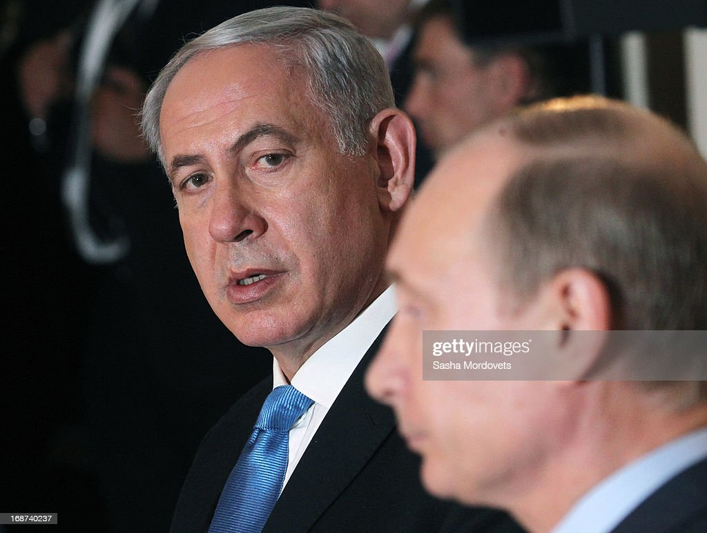Russian President <a gi-track='captionPersonalityLinkClicked' href=/galleries/search?phrase=Vladimir+Putin&family=editorial&specificpeople=154896 ng-click='$event.stopPropagation()'>Vladimir Putin</a> (R) and Israeli Prime Minister <a gi-track='captionPersonalityLinkClicked' href=/galleries/search?phrase=Benjamin+Netanyahu&family=editorial&specificpeople=118594 ng-click='$event.stopPropagation()'>Benjamin Netanyahu</a> hold a joint press conference at Bocharov Ruchei state residence on May 14, 2013 in Sochi, Russia. According to reports, Israel's concerns over Russian plans to sell Syrian President Bashar al-Assad an advanced air defense system will be raised.