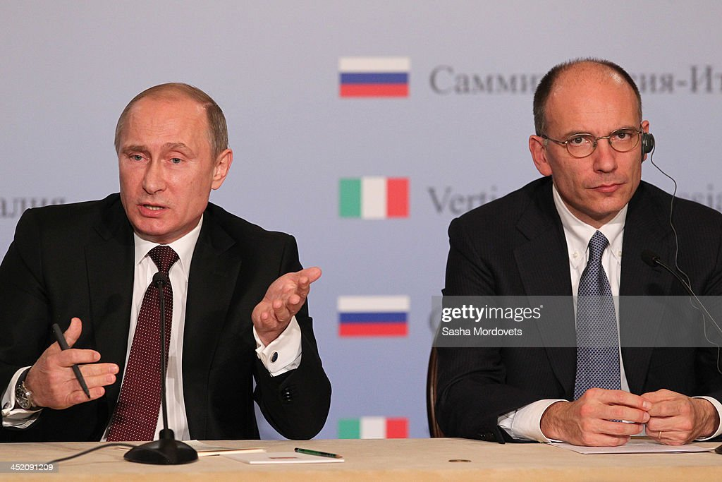 Russian President <a gi-track='captionPersonalityLinkClicked' href=/galleries/search?phrase=Vladimir+Putin&family=editorial&specificpeople=154896 ng-click='$event.stopPropagation()'>Vladimir Putin</a> (L) and Italian Prime Minister <a gi-track='captionPersonalityLinkClicked' href=/galleries/search?phrase=Enrico+Letta&family=editorial&specificpeople=2915592 ng-click='$event.stopPropagation()'>Enrico Letta</a> (R) attend a joint press conference, on November 26, 2013 in Trieste, Italy. Putin will hold meetings for the eighth round of high-level bilateral consultations ahead of a billion Euro international cooperation deal.