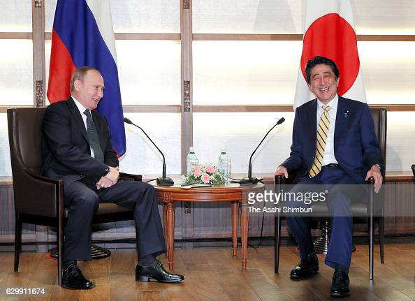 Russian President Vladimir Putin and Japanese Prime Minister Shinzo Abe hold talks on December 15 2016 in Nagato Yamaguchi Japan Putin is on a twoday...