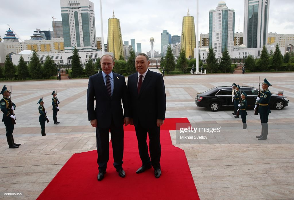 ASTANA KAZAKHSTAN MAY 31 Russian President Vladimir Putin and Kazakh President Nursultan Nazarbayev arrive to the Eurasian Economic Union Summit at...