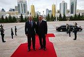 ASTANA KAZAKHSTAN MAY 31 Russian President Vladimir Putin and Kazakh President Nursultan Nazarbayev arrive to the Eurasian Economic Union Summit at...