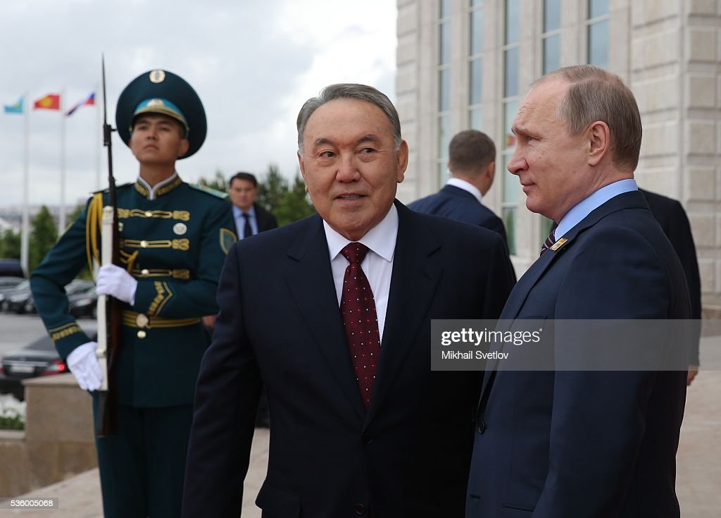 ASTANA, KAZAKHSTAN - MAY, 31 (RUSSIA OUT) Russian President Vladimir Putin (R) and Kazakh President Nursultan Nazarbayev (C) arrive to the Eurasian Economic Union Summit at Akorda Palace on May 31, 2016 in Astana, Kazakhstan. Heads of the Eurasian Economic Union (EAEU) member states Russia, Belarus, Armenia, Kazakhstan and Kyrgyzstan have gathered in Astana for the summit. President Putin will also hold talks with Kazakh President Nursultan Nazarbayev.