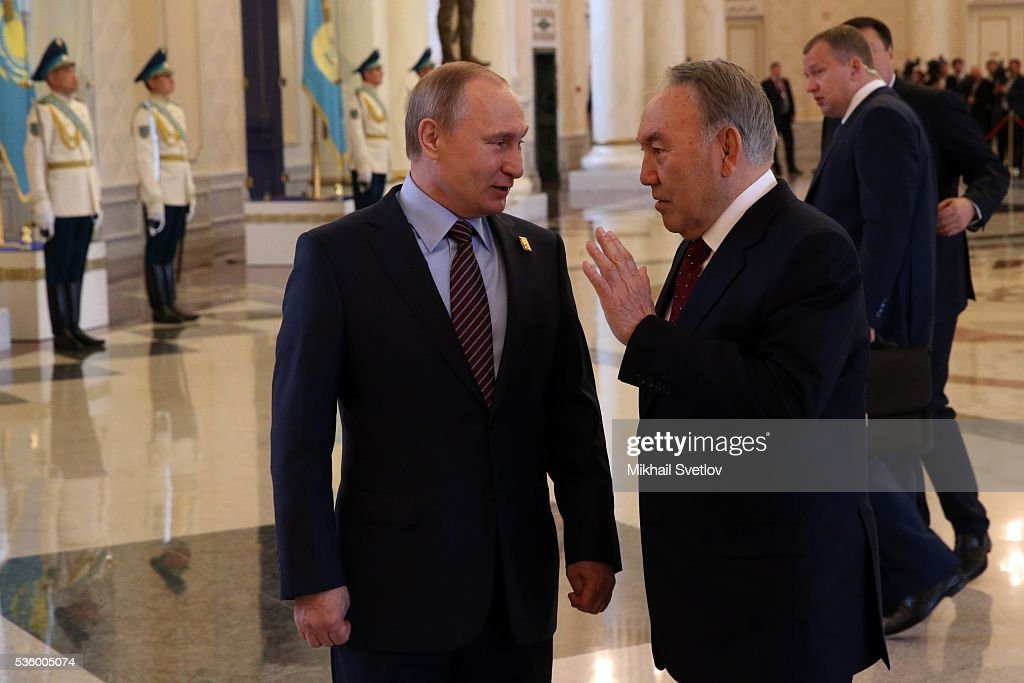 ASTANA, KAZAKHSTAN - MAY, 31 (RUSSIA OUT) Russian President Vladimir Putin (L) and Kazakh President <a gi-track='captionPersonalityLinkClicked' href=/galleries/search?phrase=Nursultan+Nazarbayev&family=editorial&specificpeople=4556028 ng-click='$event.stopPropagation()'>Nursultan Nazarbayev</a> (R) arrive to the Eurasian Economic Union Summit at Akorda Palace on May 31, 2016 in Astana, Kazakhstan. Heads of the Eurasian Economic Union (EAEU) member states Russia, Belarus, Armenia, Kazakhstan and Kyrgyzstan have gathered in Astana for the summit. President Putin will also hold talks with Kazakh President <a gi-track='captionPersonalityLinkClicked' href=/galleries/search?phrase=Nursultan+Nazarbayev&family=editorial&specificpeople=4556028 ng-click='$event.stopPropagation()'>Nursultan Nazarbayev</a>.