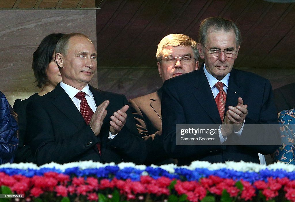 (L-R Russian President <a gi-track='captionPersonalityLinkClicked' href=/galleries/search?phrase=Vladimir+Putin&family=editorial&specificpeople=154896 ng-click='$event.stopPropagation()'>Vladimir Putin</a> and President of the International Olympic Committee (IOC) <a gi-track='captionPersonalityLinkClicked' href=/galleries/search?phrase=Jacques+Rogge&family=editorial&specificpeople=206143 ng-click='$event.stopPropagation()'>Jacques Rogge</a> attend the opening ceremony during Day One of the 14th IAAF World Athletics Championships Moscow 2013 at Luzhniki Stadium on August 10, 2013 in Moscow, Russia.