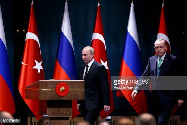 Russian President Vladimir Putin and President of Turkey Recep Tayyip Erdogan hold a press conference after their meeting at Presidential Complex in...