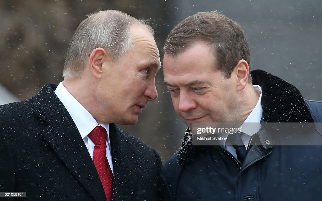 Russian President Vladimir Putin and Prime Minister Dmitry Medvedev attend the unveilng ceremony of the monument to Vladimir The Great on the National Unity Dat outside of the Kremlin, on November, 4, 2016 in Moscow, Russia.