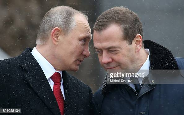 Russian President Vladimir Putin and Prime Minister Dmitry Medvedev attend the unveilng ceremony of the monument to Vladimir The Great on the...