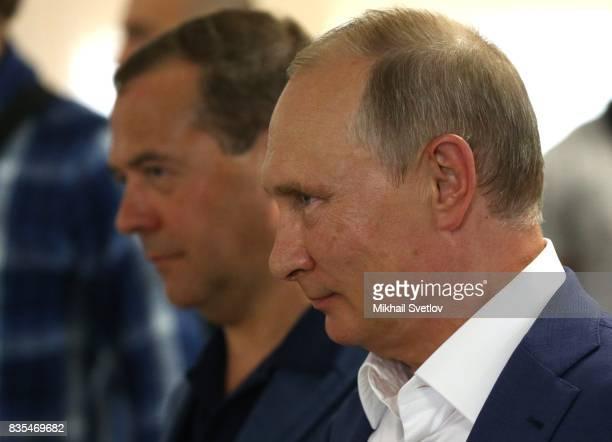 Russian President Vladimir Putin and Prime Minister Dmitry Mevedev observe a newly opened school on August 18 2017 on Sevastopol Crimea Vladimir...