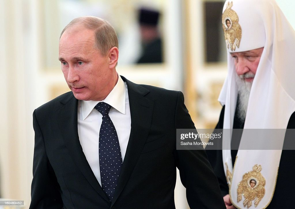 Russian President <a gi-track='captionPersonalityLinkClicked' href=/galleries/search?phrase=Vladimir+Putin&family=editorial&specificpeople=154896 ng-click='$event.stopPropagation()'>Vladimir Putin</a> (L) and Russian Orthodox Patriarch Kirill attend a congress of Russian Orthodox Church bishops in the Grand Kremlin Palace February,1,2013 in Moscow, Russia. The congress comes ahead of Putin's visit to Stalingrad tomorrow for a military parade commemorating the battle that proved pivotal in World War II.