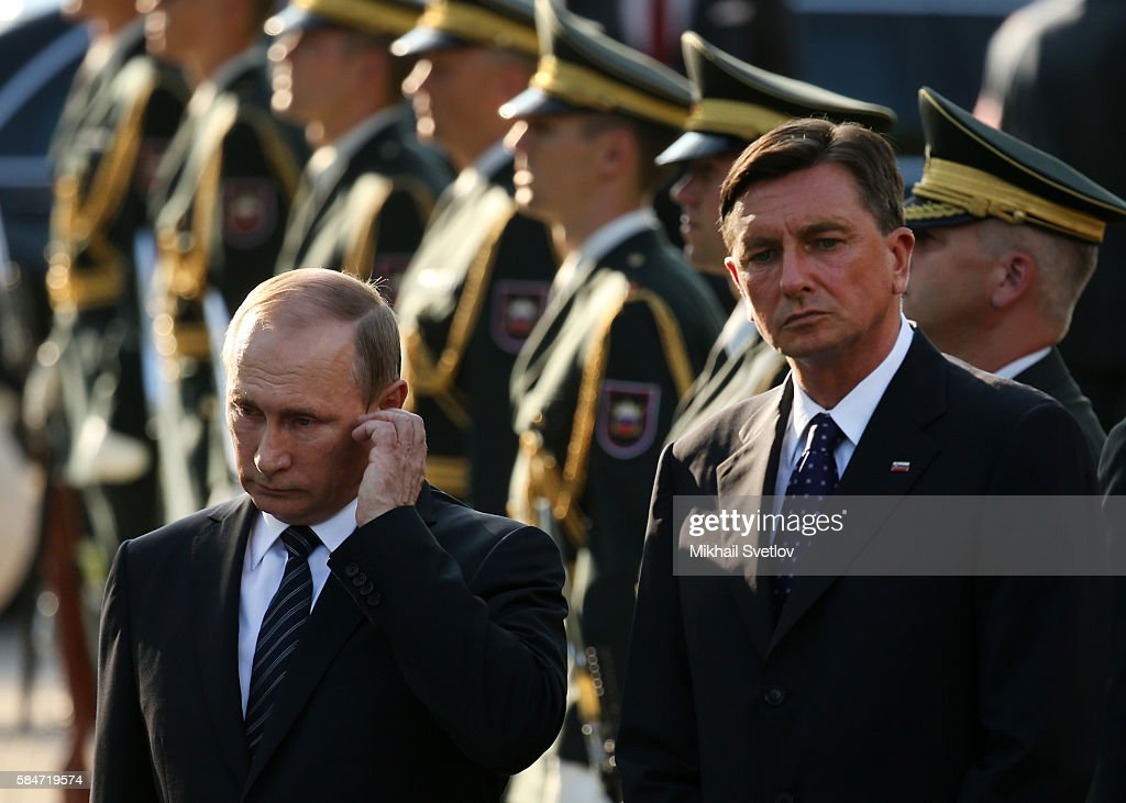 Russian President Vladimir Putin and Slovenian President Borut Pahor seen while visiting a newly opened monunent to WWII vicitims in Ljubljana...