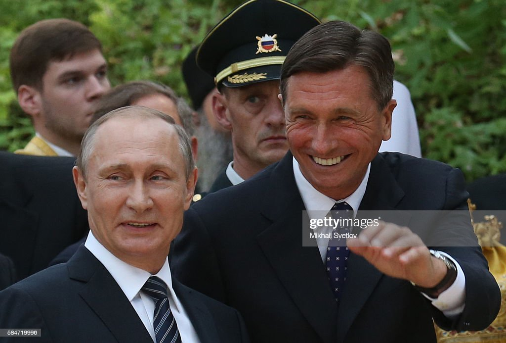 Russian President Vladimir Putin and Slovenian President Borut Pahor seen while seen visiting the the Russian Church marking its 100th jubelee today...
