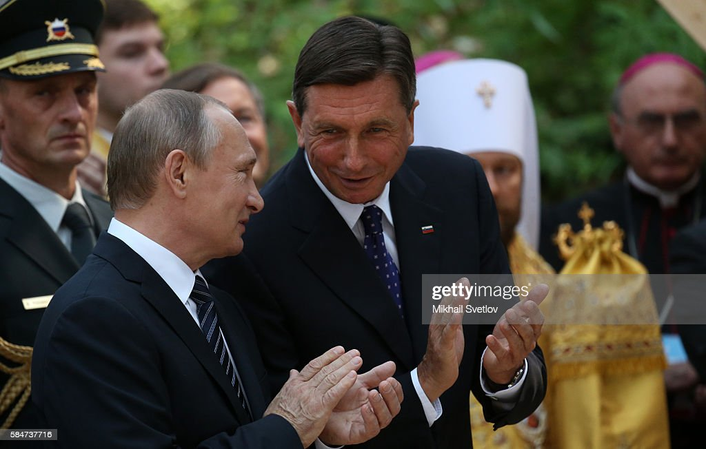 Russian President Vladimir Putin and Slovenian President Borut Pahor visit the Russian Church marking its 100th jubelee today in Brdo pri Kraju...