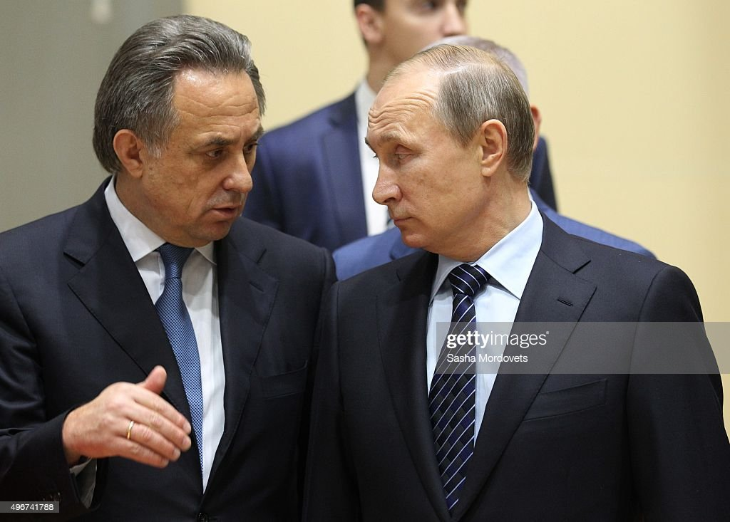 Russian President <a gi-track='captionPersonalityLinkClicked' href=/galleries/search?phrase=Vladimir+Putin&family=editorial&specificpeople=154896 ng-click='$event.stopPropagation()'>Vladimir Putin</a> (R) and Sport and Youth Policy Minister <a gi-track='captionPersonalityLinkClicked' href=/galleries/search?phrase=Vitaly+Mutko&family=editorial&specificpeople=687552 ng-click='$event.stopPropagation()'>Vitaly Mutko</a> attend a late-night meeting with the heads of Russia's sports federations on preparation for 2016 Olympic Games November,11, 2015 in the Black Sea resort of Sochi, Russia. Putin has ordered an investigation into allegations of widespread doping among the country's sports figures.