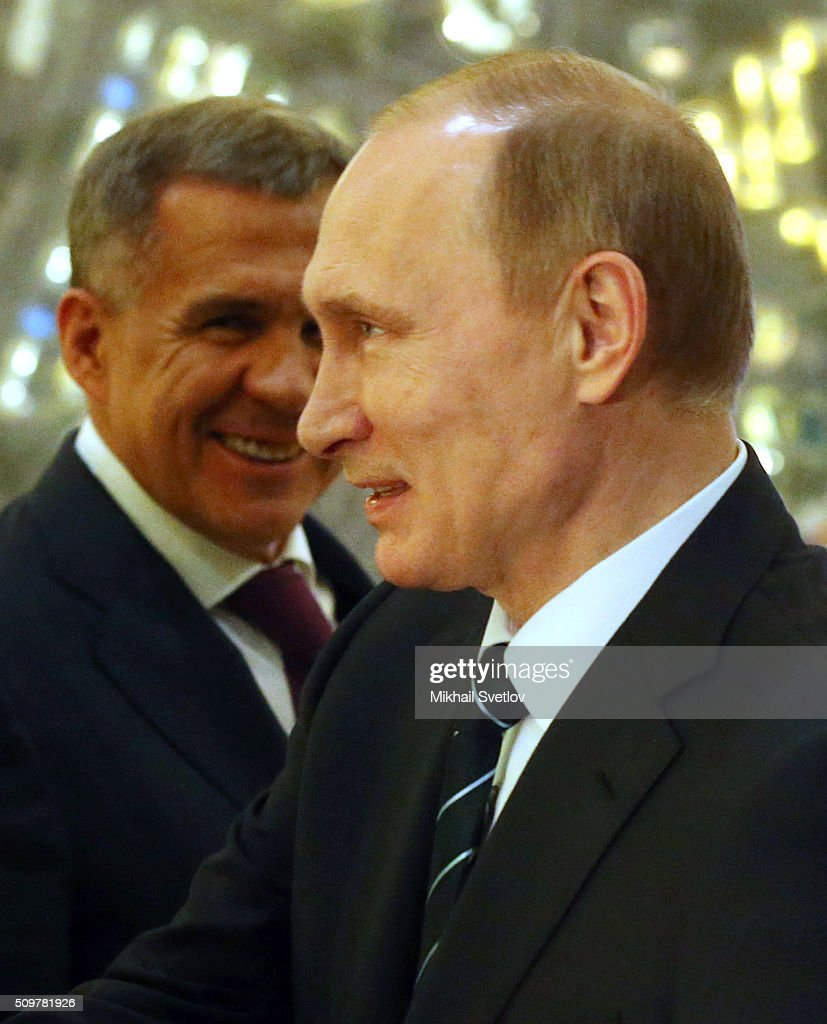 Russian President <a gi-track='captionPersonalityLinkClicked' href=/galleries/search?phrase=Vladimir+Putin&family=editorial&specificpeople=154896 ng-click='$event.stopPropagation()'>Vladimir Putin</a> (R) and Tatarstan's President Rustam Minnikhanov (L) visit an exhibition at the Kamaz automobile plant on February 12, 2016 in Naberezhnye Chelny, Russia. Putin visited Kamaz, a Russian truck manufacturer, to mark 40 years since the start of production.