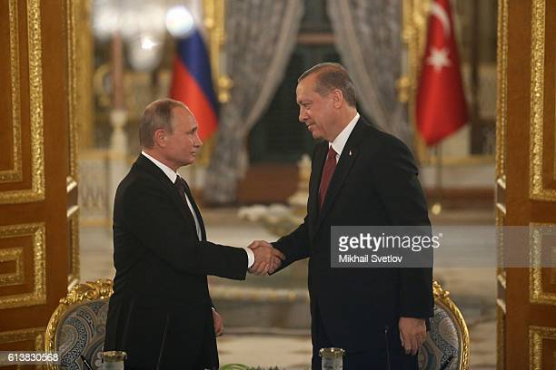 Russian President Vladimir Putin and Turkish President Recep Tayip Erdogan attend a news conference October 2016 in IstanbulTurkey Putin is on a...