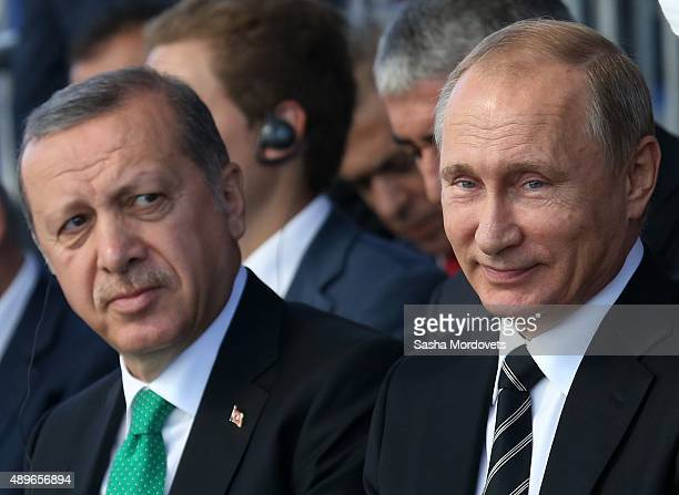 Russian President Vladimir Putin and Turkish President Tayyip Erdogan attend an opening ceremony for the newly restored Moscow Cathedral Mosque on...