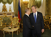 Russian President Vladimir Putin and US President George W Bush during their talks in Moscow's Kremlin during which the two leaders signed an arms...