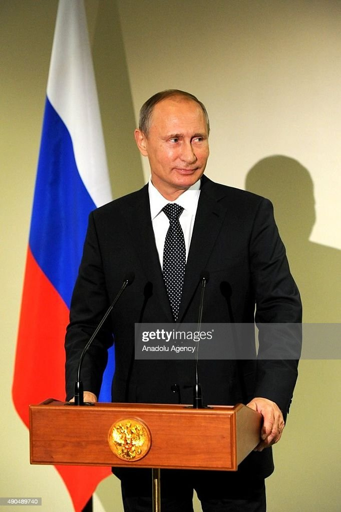 Russian President Vladimir Putin answers journalists' questions during a press conference in New York, United States on September 29, 2015.