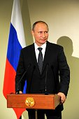 Russian President Vladimir Putin answers journalists' questions during a press conference in New York United States on September 29 2015
