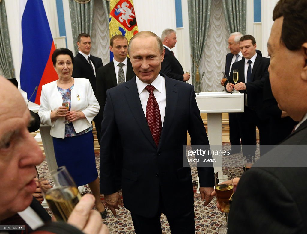 Russian President Vladimir Putin appears during the awarding ceremony at the Kremlin April, 30, 2016 in Moscow, Russia. Putin presented Hero of Labour medals to five winners. The awards were given to Russians who made a considerable contribution to the country's social and economic development, including development of culture, education, industry and agriculture.