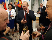 Russian President Vladimir Putin appears during the awarding ceremony at the Kremlin April 2016 in Moscow Russia Putin presented Hero of Labour...