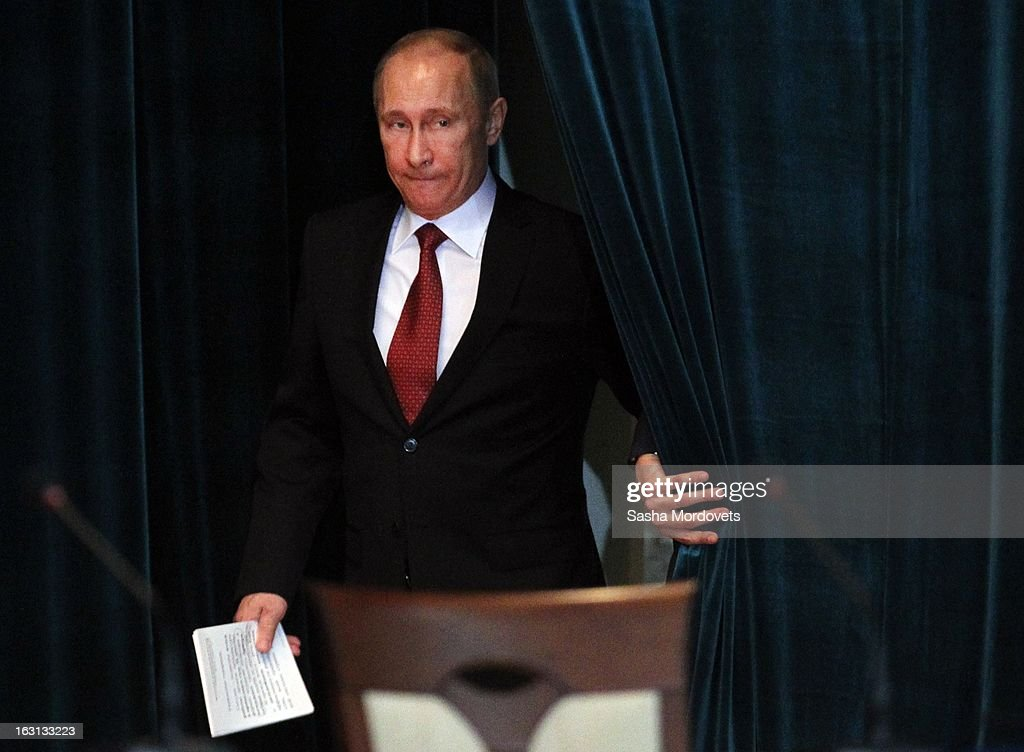 Russian President <a gi-track='captionPersonalityLinkClicked' href=/galleries/search?phrase=Vladimir+Putin&family=editorial&specificpeople=154896 ng-click='$event.stopPropagation()'>Vladimir Putin</a> arrives at a Prosecutor General's Office expanded board meeting on March 5, 2013 in Moscow, Russia. In his annual speech to prosecutors Putin said they could do more to fight corruption in Russia .