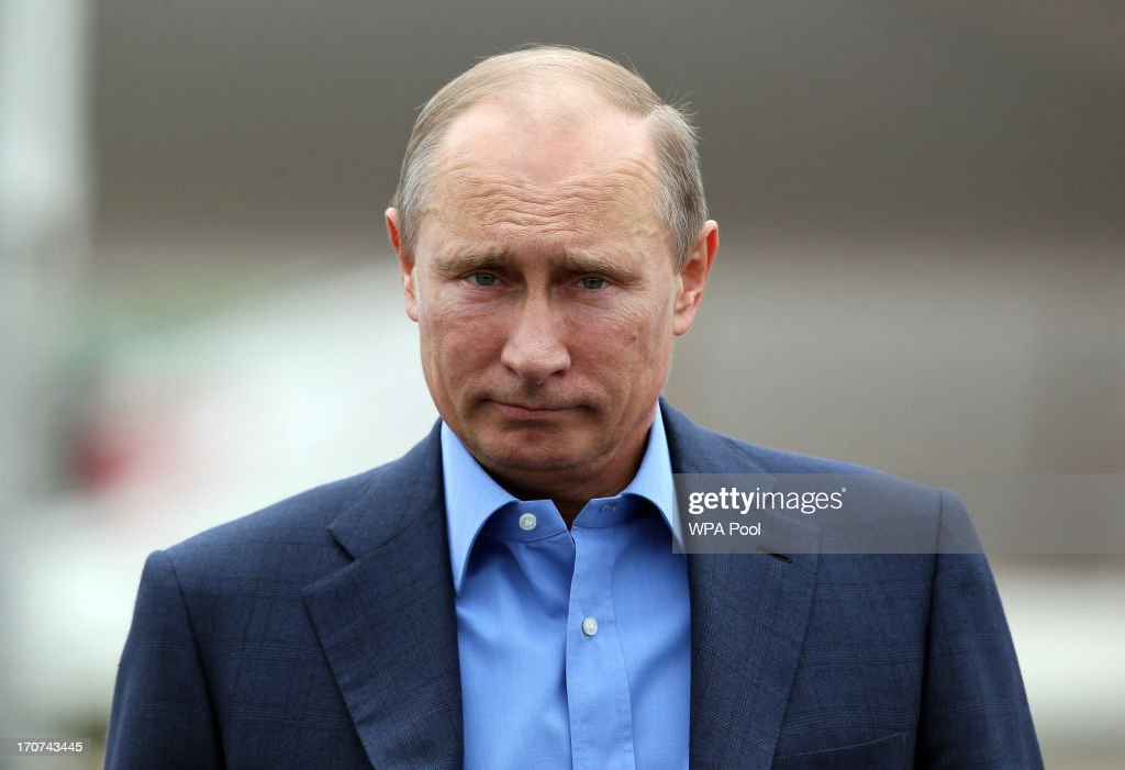 Russian President Vladimir Putin arrives at Belfast International Airport on June 17 2013 in Belfast Northern Ireland The twoday G8 summit hosted by...
