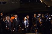 Russian President Vladimir Putin arrives at the G20 international airport on November 14 2014 in Brisbane Australia World leaders have gathered in...
