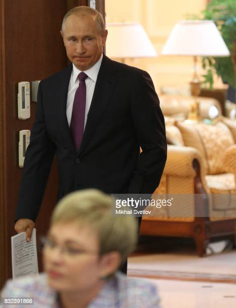 Russian President Vladimir Putin arrives at the meeting on transport infrastructure development on August 16 2017 in Pionersky Kaliningrad Oblast...