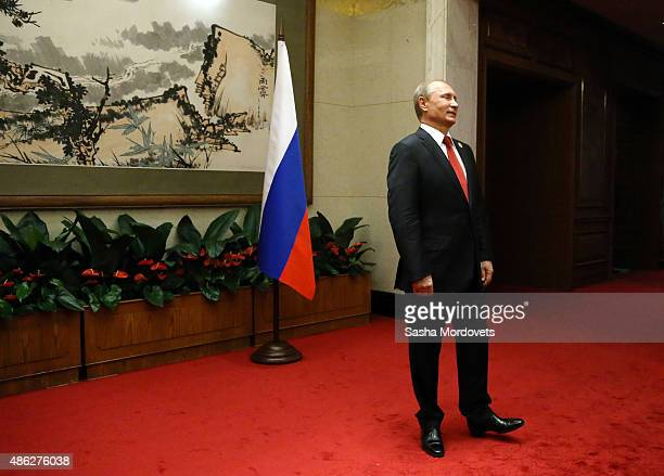 Russian President Vladimir Putin arrives for a bilateral meeting with Czech President Milos Zeman September 3 2015 in Beijing China Putin has arrived...