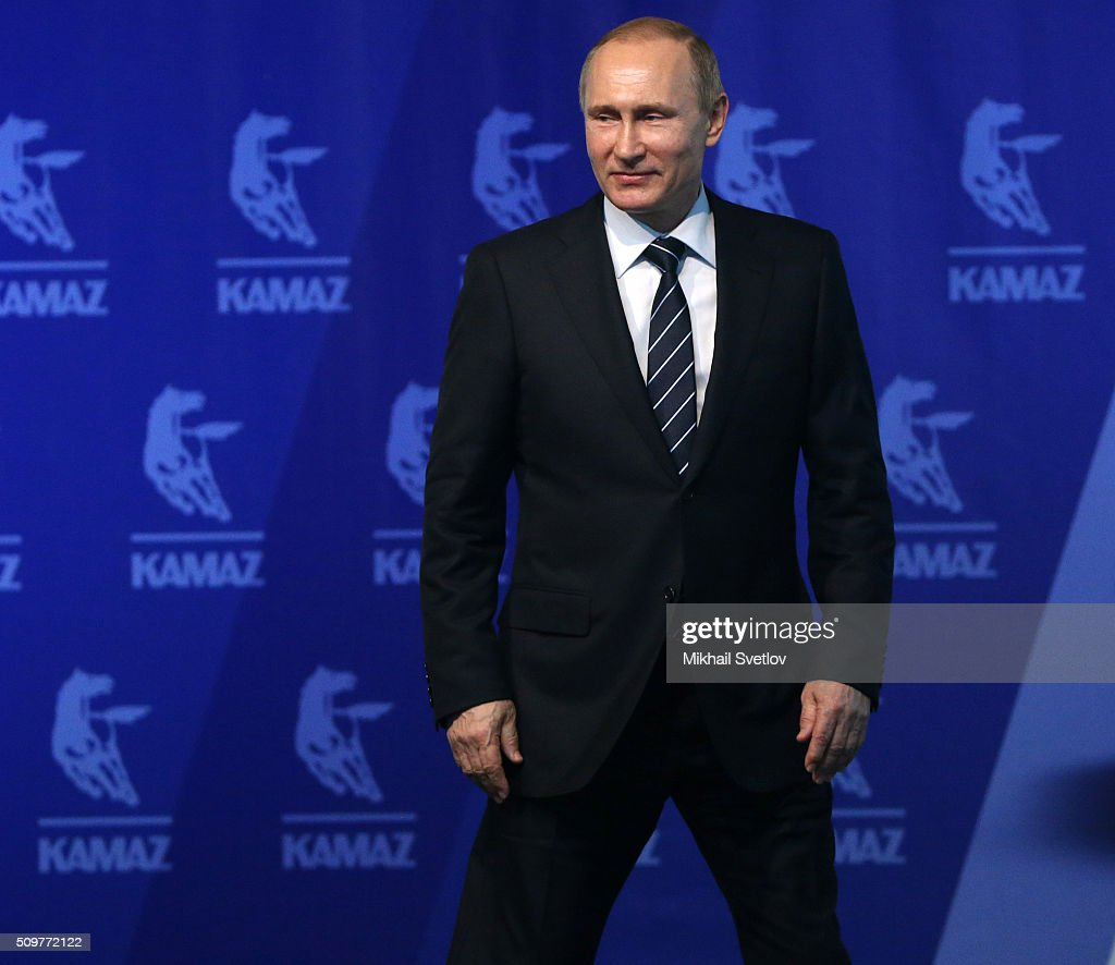 Russian President <a gi-track='captionPersonalityLinkClicked' href=/galleries/search?phrase=Vladimir+Putin&family=editorial&specificpeople=154896 ng-click='$event.stopPropagation()'>Vladimir Putin</a> arrives for a meeting at the Kamaz plant on February 12, 2016 in Naberezhnye Chelny, Russia. Putin visited Kamaz, a Russian truck manufacturer, to mark 40 years since the start of production.