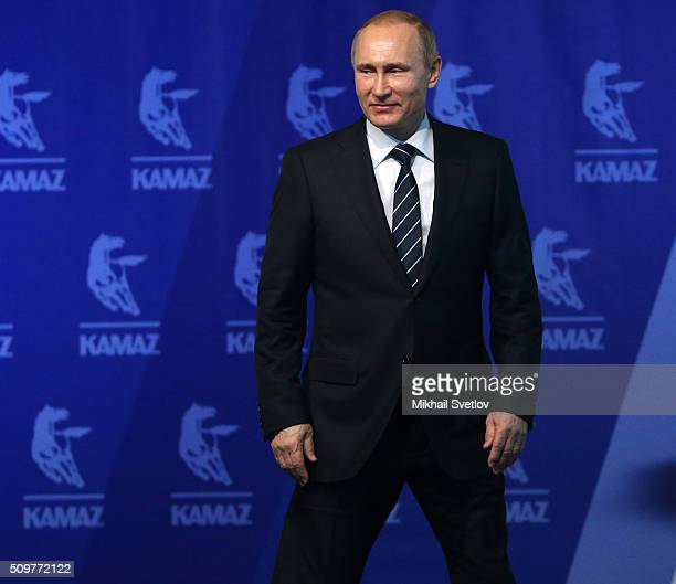 Russian President Vladimir Putin arrives for a meeting at the Kamaz plant on February 12 2016 in Naberezhnye Chelny Russia Putin visited Kamaz a...