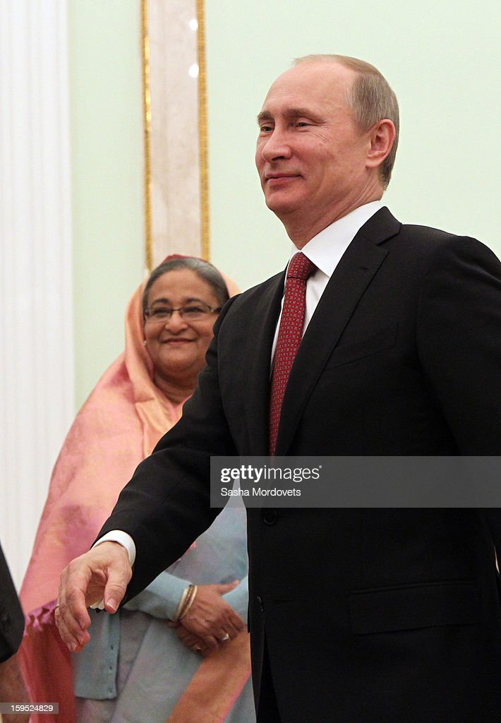 Russian President Vladimir Putin arrives for a meeting with Bangladesh's Prime Minister Sheikh Hasina at the Kremlin, on January 15, 2013 in Moscow, Russia. During Hasina's three day state visit to Russia she will sign defence and nuclear energy agreements, including a deal to help fund construction of Bangladesh's first nuclear power plant.