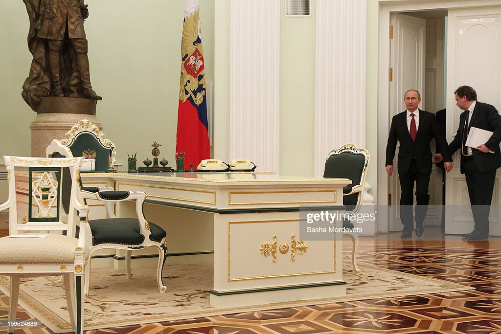Russian President <a gi-track='captionPersonalityLinkClicked' href=/galleries/search?phrase=Vladimir+Putin&family=editorial&specificpeople=154896 ng-click='$event.stopPropagation()'>Vladimir Putin</a> arrives for a meeting with Bangladesh's Prime Minister Sheikh Hasina at the Kremlin, on January 15, 2013 in Moscow, Russia. During Hasina's three day state visit to Russia she will sign defence and nuclear energy agreements, including a deal to help fund construction of Bangladesh's first nuclear power plant.