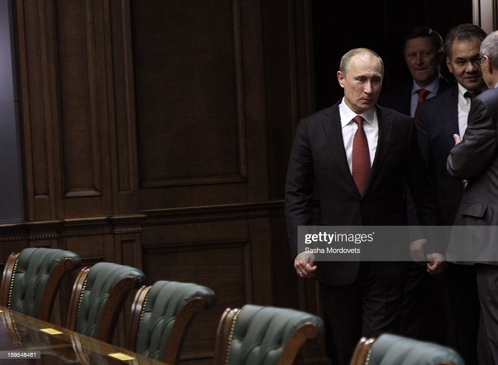 Russian President <a gi-track='captionPersonalityLinkClicked' href=/galleries/search?phrase=Vladimir+Putin&family=editorial&specificpeople=154896 ng-click='$event.stopPropagation()'>Vladimir Putin</a> arrives for a speech during the opening of the Russia Geographical Society new headquarters on January 15, 2013 in Moscow, Russia. President <a gi-track='captionPersonalityLinkClicked' href=/galleries/search?phrase=Vladimir+Putin&family=editorial&specificpeople=154896 ng-click='$event.stopPropagation()'>Vladimir Putin</a> also took part in the ceremony on Tuesday.