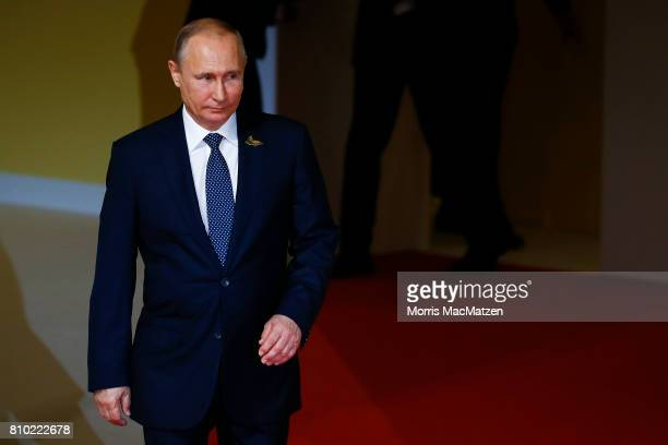 Russian President Vladimir Putin arrives for the first day of the G20 economic summit on July 7 2017 in Hamburg Germany The G20 group of nations are...