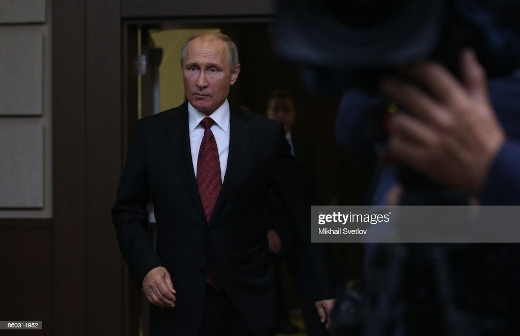 Russian President Vladimir Putin arrives for the Summit of CIS October 12, 2017 in Sochi, Russia. Leaders of ex-Soviet states have gathered in Sochi for the CIS and Eurasian Economic organisations.