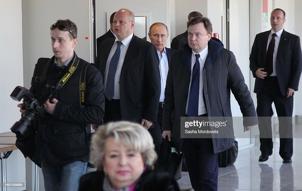 Russian President <a gi-track='captionPersonalityLinkClicked' href=/galleries/search?phrase=Vladimir+Putin&family=editorial&specificpeople=154896 ng-click='$event.stopPropagation()'>Vladimir Putin</a> arrives to attend a meeting at the Bolshoy Ice Dome, an ice hockey arena in the Sochi Olympic Park on March, 2013 in Russia. Sochi will host the 2014 Winter Olympics.