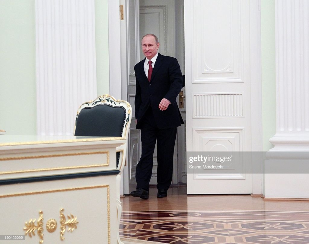 Russian President <a gi-track='captionPersonalityLinkClicked' href=/galleries/search?phrase=Vladimir+Putin&family=editorial&specificpeople=154896 ng-click='$event.stopPropagation()'>Vladimir Putin</a> arrives to receive Hungarian Prime Minister Viktor Orban in the Kremlin on January 31, 2013 in Moscow, Russia. Orban is on a one-day visit to Russia.