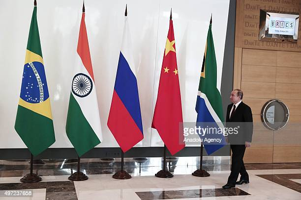 Russian President Vladimir Putin arrives to the BRICS leaders meeting prior to G20 Turkey Summit on November 15 2015 in Antalya Turkey The 2015 G20...
