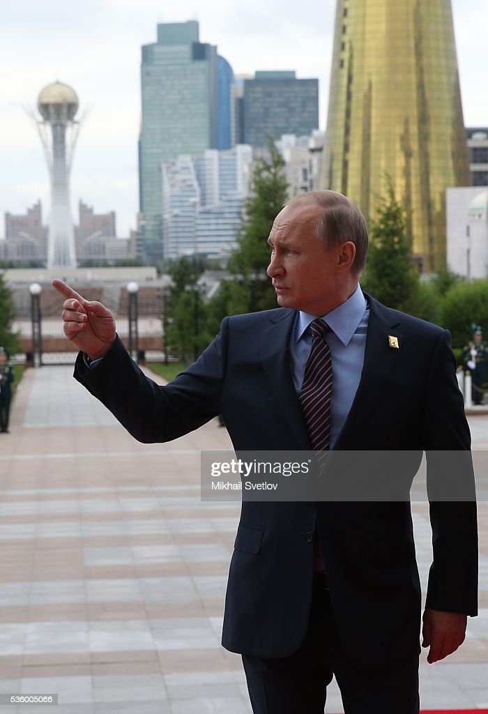 ASTANA, KAZAKHSTAN - MAY, 31 (RUSSIA OUT) Russian President <a gi-track='captionPersonalityLinkClicked' href=/galleries/search?phrase=Vladimir+Putin&family=editorial&specificpeople=154896 ng-click='$event.stopPropagation()'>Vladimir Putin</a> arrives to the Eurasian Economic Union Summit at Akorda Palace on May 31, 2016 in Astana, Kazakhstan. Heads of the Eurasian Economic Union (EAEU) member states Russia, Belarus, Armenia, Kazakhstan and Kyrgyzstan have gathered in Astana for the summit. President Putin will also hold talks with Kazakh President <a gi-track='captionPersonalityLinkClicked' href=/galleries/search?phrase=Nursultan+Nazarbayev&family=editorial&specificpeople=4556028 ng-click='$event.stopPropagation()'>Nursultan Nazarbayev</a>.