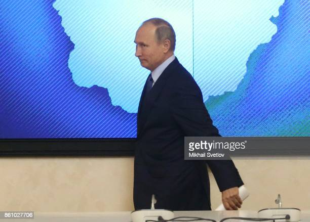 Russian President Vladimir Putin arrives to the meeting on agricultural development in Voronezh Russia October 2017 Vladimir Putin is having a oneday...