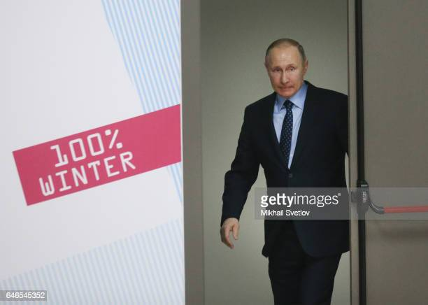 Russian President Vladimir Putin arrives to the meeting on sport development in the region on March 1 2017 Krasnoyarsk Russia Putin is on a oneday...